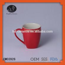 Taza de cerámica roja, taza de cerámica al por mayor, taza de cerámica con color, taza de cerámica OEM