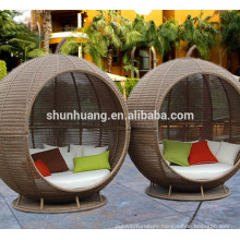 Outdoor furniture PE rattan day bed with canopy beach lounge chaise