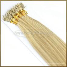 Extensões Nano Desgastadas dobro do cabelo do anel do russo da venda por atacado do cabelo da proteína da queratina