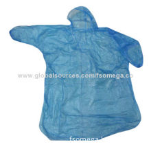 PE disposable raincoat, poncho raincoat in cheap material for adult and children