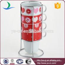 Venta al por mayor 4pcs taza de porcelana de 210 ml conjunto con soporte de hierro