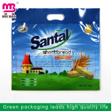 Large size strong sealing die cut handle design plastic washing powder packing bags in bulk