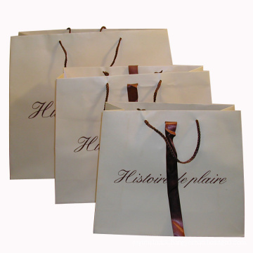 Paper Shopping Bag with Ribbon and Logo