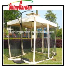Paraguas colgante desplazado Al aire libre de aluminio Toldo solar para sol con malla Patio Poste inclinado Gazebo