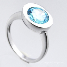 Fashion Jewelry 925 Sterling Silver Ring with Blue Zirconia