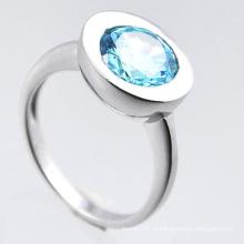 Moda jóias 925 anel de prata esterlina com zircônia azul