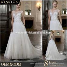 Hochwertiges Perlengurt A-line durchsichtiges Hochzeitskleid reales Bild