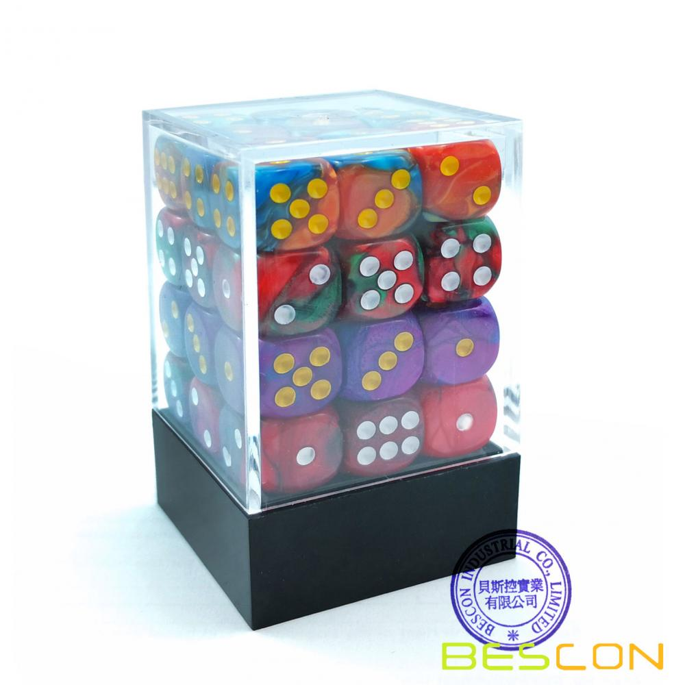 Bescon D6 12mm  36pcs Set, 12mm Six Sided Die (36) Block of Dice, Assorted Gemini Colors of Jungle