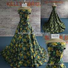 2017 New Summer Flower green off-shoulder embroidery design fashion Long Bridesmaid Formal prom dress
