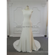 Sheer Crepe Fabric Europe Style Mermaid Wedding Gown