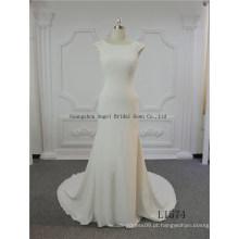 Vestido de casamento completo da sereia do estilo de Europa da tela do crepe