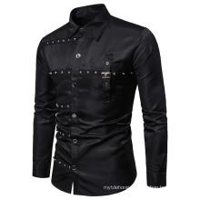 Men Fashion Gothic Cotton Slim Uniform Stage Costumes Men′s Shirts