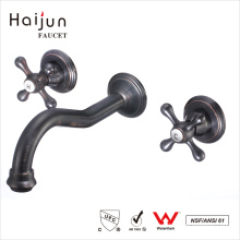 Haijun Products China Artistic Dual Handle Wall Mounted Bathroom Basin Faucets