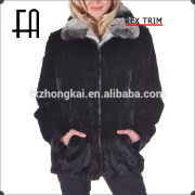 Factory direct wholesale price zippered black rabbit fur bomber jacket with rex fur trim