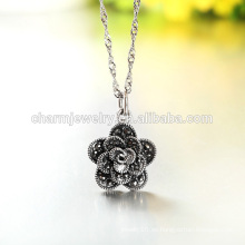 Venta caliente del estilo del collar de la plata de la manera 2016 Lastest de la flor hermosa en diseño occidental para la muchacha SCR004