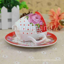 Quality Relief Different Shape Available New Bone China Red Cups Party