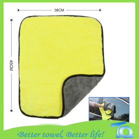 Tebal Plush Microfiber Car Drying Towel dengan Bordure