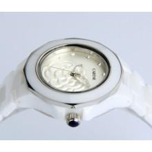 Reloj de cerámica de la génova impermeable del movt de Japón del nuevo estilo para la señora
