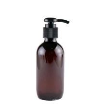 Private Label Brown Amber Empty 150ml Lotion Bottle Round Plastic PET Body Shampoo Liquid Soap Bottle