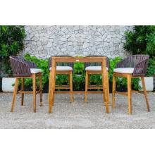 Design élégant en polyéthylène Rattan Patio extérieur Jardin Ensemble de bar Meubles en osier