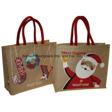 Mode personnalisé Printed Christmas Jute Shopping Tote Bag