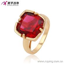 Moda Zircon cobre Bbrass aleación chapado oro joyería de la universidad anillo de dedo para mujer -13527