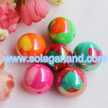 20MM Round Plastic Chunky Beads AB Bubblegum Heart Beads