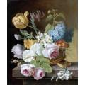 100% handgemachte Acrylmalerei-Blumen auf Segeltuch-Wand-Kunst für Hauptdekoration (ECH-116)