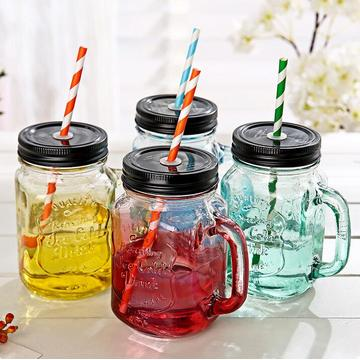 Factory Supply High Flint Fashion Popular Beautiful Glass Mason Jar for Juice with Colorful Cover and Straw Wholesale