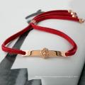 Lucky Red Leather Bar K Gold Lion Head Bracelet