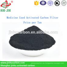 Medicamento usado Filtro de carbón activado Precio por tonelada