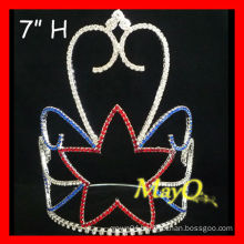 Colored Rhinestone Tall Star Patriotic Pageant Crown