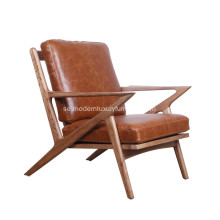 Mid Century Wooden Läder Z Lounge Chair