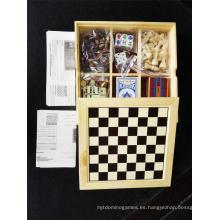 Juego de 7 en 1 juego de ajedrez multi al por mayor en caja de madera
