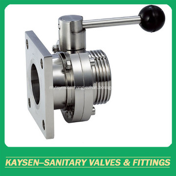 DIN Sanitary Butterfly Valves Square Flange and male