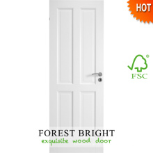 Puerta de dormitorio de madera blanca de 4 paneles, diseño de puerta de panel de madera