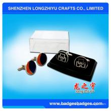 Cutom Logo Silber Manschettenknöpfe Elegante Manschettenknöpfe mit Box verpackt
