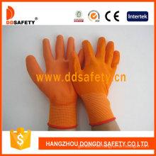Knit Wrist, 13 Gauge Orange Nylon Gloves Coating PU (131)