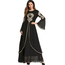 Middle eastern fashion modern elegant women embroidery flower long maxi Islamic Muslim evening dress