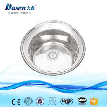 Foshan manufacturer decor surface treatment single bowl round washing sink 510mm without mixer tap