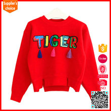 Latest fashion long sleeves girls red organic 100 cashmere sweater