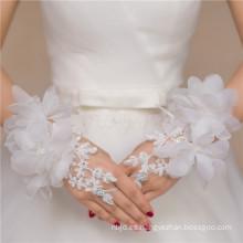Lace appliques accesorios nupciales de encaje de alta calidad de encaje de la boda guante