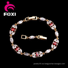 Nuevos diseños de la pulsera del oro de la piedra preciosa de la CZ de la manera de las mujeres al por mayor