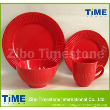 16PCS Ceramic Red Color Embossed Dinner Set
