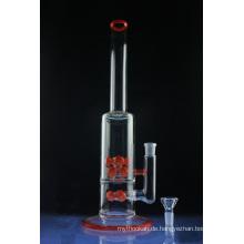 Double Red Cross Mega Tube Glas Rauchen Wasserpfeife (ES-GB-579)