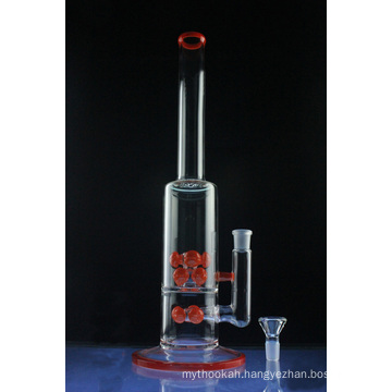 Double Red Cross Mega Tube Glass Smoking Water Pipe (ES-GB-579)