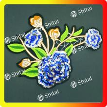 Wholesale Discount for Applique Sequin Patches Blue flower sequins patches supply to Spain Exporter
