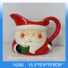 Kitchenware ceramic milk jug with santa figurine