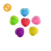 Alta qualidade coração forma food grade colorido bolo de silicone muffin cup