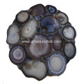 CANOSA natural color agate coverd coffee table with golden stainless steel